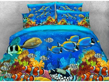 3D Colorful Sea Fish Printed 4-Piece Bedding Sets/Duvet Covers