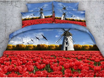 Charming Red Tulip and Windmill Printed 4-Piece Duvet Cover Sets