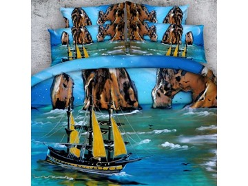 3D Sea View and Boat Printed Cotton 4-Piece Blue Bedding Sets/Duvet Covers