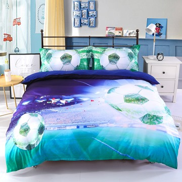 3D Soccer Stadium and Field Printed Cotton 4-Piece Bedding Sets/Duvet Covers