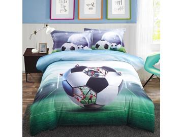 Vivilinen Creative Structure of Soccer Printed Cotton 3D 4-Piece Bedding Sets/Duvet Covers