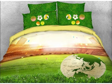 3D World Map Soccer on the Green Field Printed 4-Piece Bedding Sets