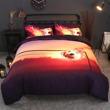 3D Fiery Soccer Ball and Goal Printed Cotton 4-Piece Bedding Sets/Duvet Covers