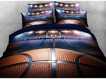 Onlwe 3D Shooting a Basketball in Empty Basketball Court Printed 4-Piece Bedding Sets