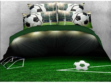 3D Soccer Ball on the Green Field Printed 4-Piece Bedding Sets/Duvet Covers