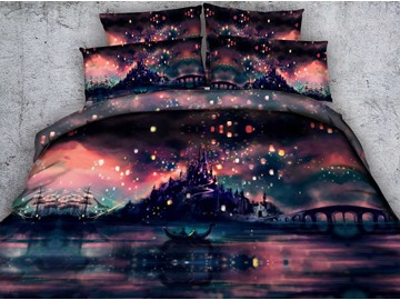 3D Castle and Flying Lanterns Printed Cotton 4-Piece Bedding Sets/Duvet Covers