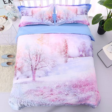 Onlwe 3D Winter Forest Printed Cotton 4-Piece Bedding Sets/Duvet Covers