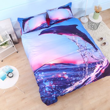 Vivilinen Dolphin Jumping at Sunset Printed Cotton 3D 4-Piece Bedding Sets/Duvet Covers