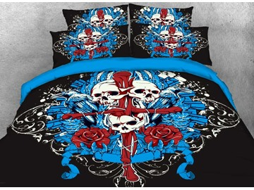 Vivilinen Halloween Skull and Cross Printed 4-Piece 3D Bedding Sets/Duvet Covers