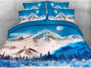 3D Snow Mountain and Lake Printed 4-Piece Bedding Sets/Duvet Covers