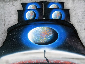 3D Man under Starry Sky and Planet Printed 4-Piece Bedding Sets/Duvet Covers