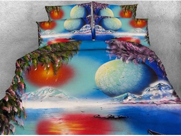 3D Natural Scenery and Planet Printed 4-Piece Bedding Sets/Duvet Covers