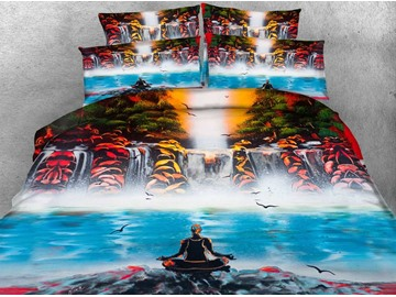 3D Yogi and Waterfall Scenery Printed 4-Piece Bedding Sets/Duvet Covers