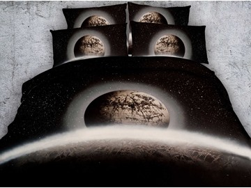 3D Planet and Galaxy Printed 4-Piece Bedding Sets/Duvet Covers