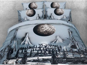 3D Mountain Scenery and the Moon Printed 4-Piece Bedding Sets/Duvet Covers