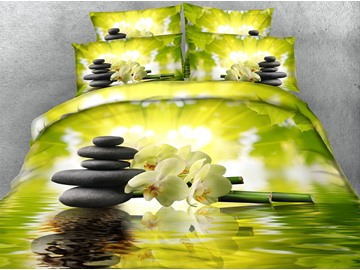 3D Bamboo and White Phalaenopsis Printed 4-Piece Green Bedding Sets/Duvet Covers