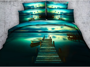 3D Jetty and Canoe Printed 4-Piece Bedding Sets/Duvet Covers