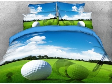 Onlwe 3D Golf Balls with Green Grass under Blue Sky 4-Piece Bedding Sets
