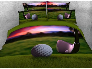 Onlwe 3D Golf Ball with Wedge Printed 4-Piece Bedding Sets/Duvet Covers