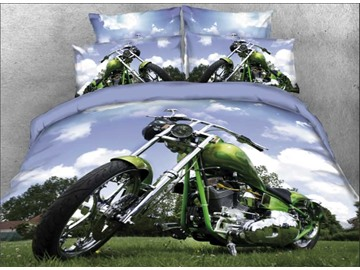 Onlwe 3D Harley Motorcycle Parking on Lawn 4-Piece Bedding Sets/Duvet Covers