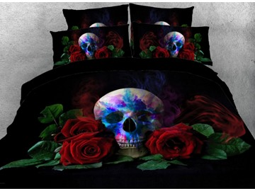 Onlwe 3D Skull with Red Roses Printed 4-Piece Bedding Sets/Duvet Covers
