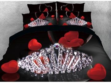 Vivilinen Diamonds Crown and Red Heart Printed 4-Piece 3D Bedding Sets/Duvet Cover
