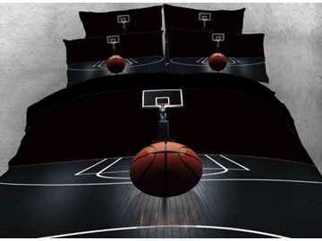 Onlwe 3D Basketball on the Court Printed 4-Piece Black Bedding Sets/Duvet Covers