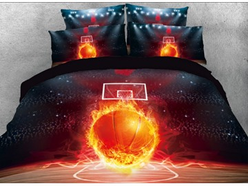 Onlwe 3D Basketball with Fire on the Court Printed 4-Piece Bedding Sets/Duvet Covers