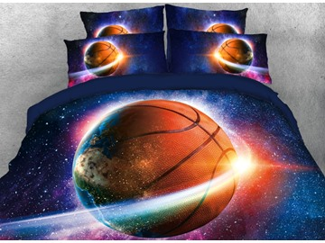 Onlwe 3D Galaxy Basketball Printed 4-Piece Blue Bedding Sets/Duvet Covers