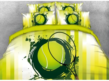Vivilinen 3D Painting Tennis Sports Style Printed 4-Piece Green Bedding Sets/Duvet Covers