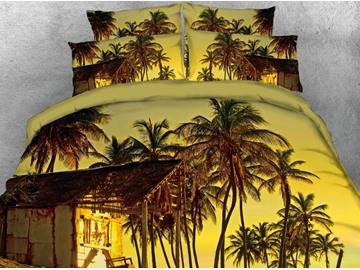 Vivilinen 3D Coconut Tree in the Sunset Printed Cotton Yellow 4-Piece Bedding Sets/Duvet Covers