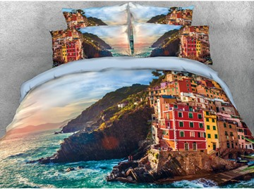 Vivilinen 3D Building Located at the Seaside Printed Cotton 4-Piece Bedding Sets/Duvet Covers