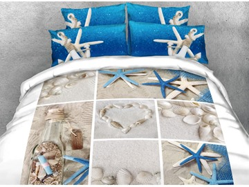 Vivilinen 3D Shells and Starfish Printed Cotton 4-Piece Bedding Sets/Duvet Covers