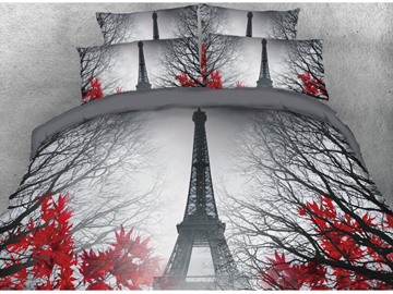 3D Paris Eiffel Tower and Maple Leaves Printed Cotton 4-Piece Bedding Sets