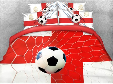 3D Soccer Group G World Cup Theme Printed 4-Piece Bedding Sets/Duvet Covers