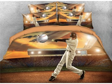 Player Hits Baseball on the Court 3D Printed Cotton 4-Piece Bedding Sets/Duvet Covers