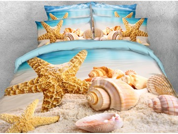 3D Shell & Starfish Beach Theme Cotton Printed 4-Piece Bedding Sets/Duvet Covers