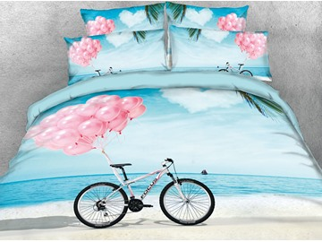Pink Balloon and Bike on the Beach Cotton Printed 4-Piece 3D Bedding Sets/Duvet Covers
