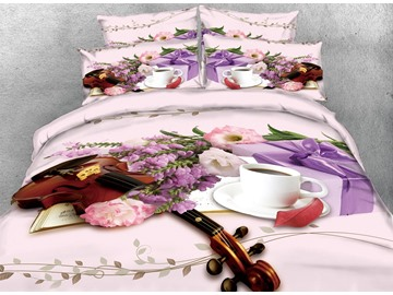 3D Violin and Leisure Afternoon Tea Digital Printing Cotton 4-Piece Bedding Sets/Duvet Cover