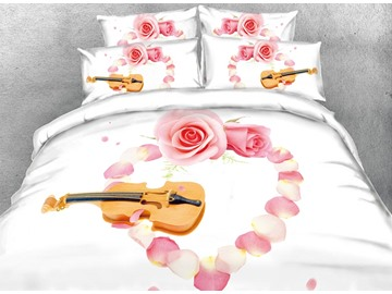 Violin and Heart Shaped Pink Rose Petal Digital Printing Cotton 3D 4-Piece Bedding Sets/Duvet Cover