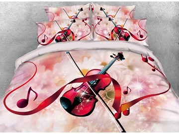 3D Violin and Red Ribbon Note Digital Printing Cotton 4-Piece Bedding Sets/Duvet Cover