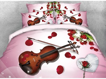 3D Violin and White Heart Gift Digital Printing 4-Piece Bedding Sets/Duvet Cover