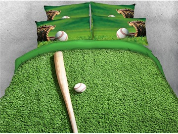3D Baseball Bat and Gloves Green Grass Digital Printed Cotton 4-Piece Bedding Sets/Duvet Covers