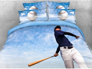 3D Athlete Try to Hit Baseball Blue Sky Digital Printed Cotton 4-Piece Bedding Sets/Duvet Covers