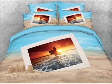 3D Surfing Photos Digital Printed Cotton 4-Piece Bedding Sets/Duvet Covers