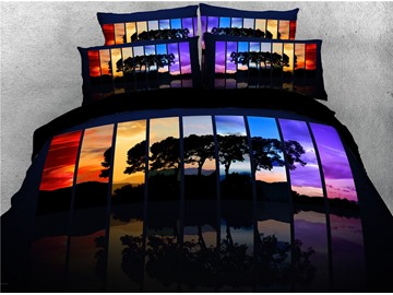 3D Tree Shadow and Colorful Mirror Digital Printed Cotton 4-Piece Bedding Sets/Duvet Covers
