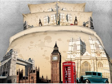 3D Tower Bridge and Castle Digital Printed Cotton 4-Piece Bedding Sets/Duvet Covers