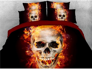 Skull with Fire Digital Printing 4-Piece 3D Bedding Sets/Duvet Covers