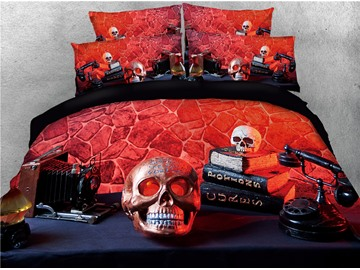 Skull and Telephone Digital Printing 4-Piece 3D Bedding Sets/Duvet Covers