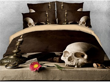Skull Book and Daisy Digital Printing 3D 4-Piece Bedding Sets/Duvet Covers